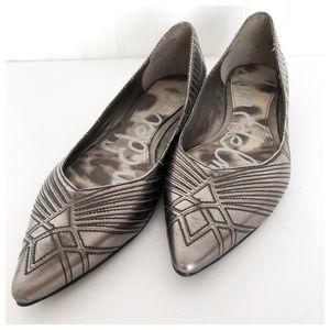 Sam Edelman Metallic Pointy Toe Flats 7 1/2 M